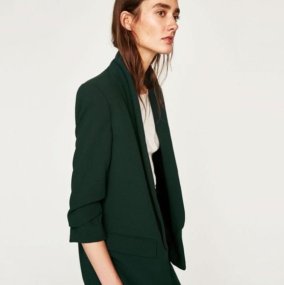 Zara Jackets Amp Coats Nwt Women Green Roll Up Sleeve